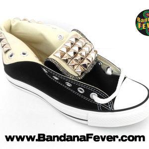 Custom Studded Converse Hi Black